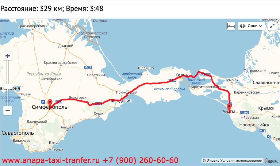 Такси из Анапы в Симферополь